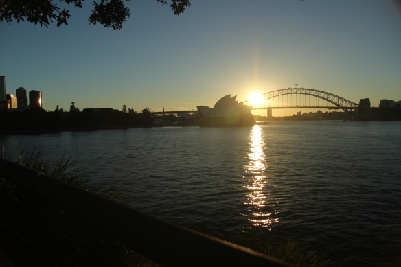 Sun setting over Sydney Harbour