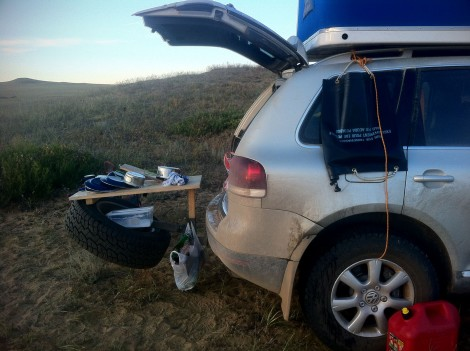 Tony's table, water bladder and the washing up.  Mongolia