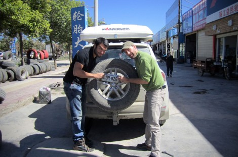 Replacing tyres, China