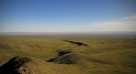 Magda (very centre) is dwarfed by the Mongolian landscape